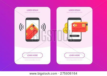 Mobile Payment Concept With Illustration Of Smartphone, Credit Card And Golden Coins. Cards Of Goods