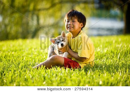 Young Asian boy holding Alaskan Klee Kai puppy sitting on grass