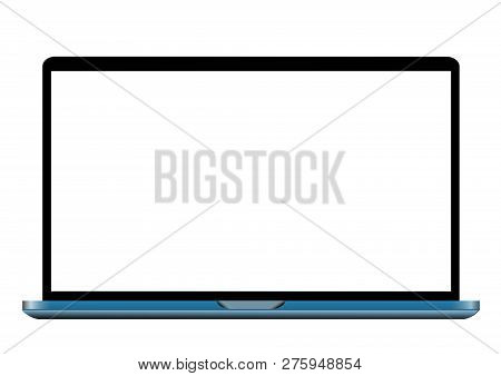 Blue Laptop With Blank Screen Isolated On White Background