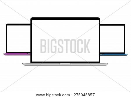 Laptops With Blank Screen Isolated On White Background