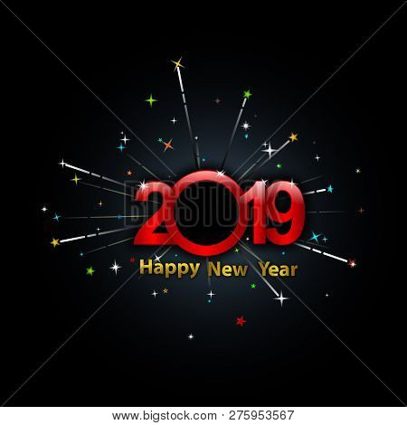 New Year 2019, 2019 New Years Image Firework, Happy New Year 2019, Red 2019, New Year 2019 3d Render