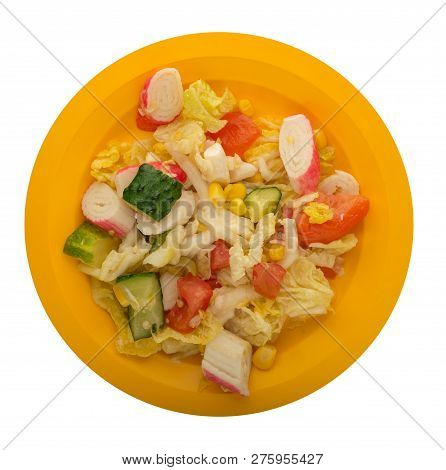 Vegetarian Salad On A Plate. Salad From Corn, Salad, Tomato, Cucumber, Pepper And Crab Sticks. Healt