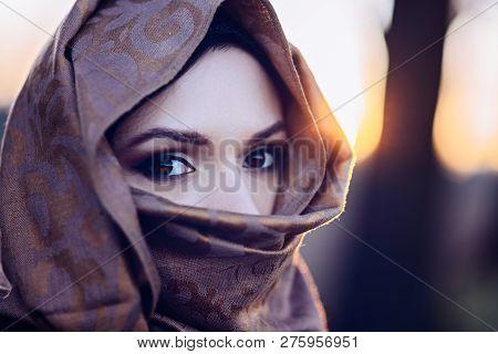 Young Sad Arabic Woman In Hijab
