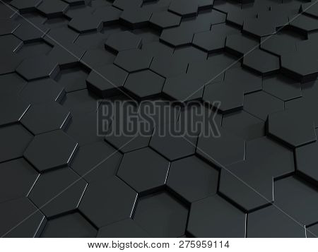 Abstract Honeycomb Metallic Panels 3d Background. Metallic Dark Background Or Texture. You Can Use I