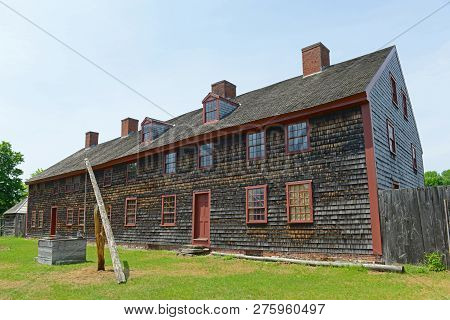 Fort Western Is A Former British Colonial Outpost On The Kennebec River In Augusta, Maine, Usa.