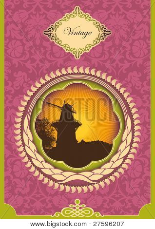 Vintage poster with windmill. Vector illustration.