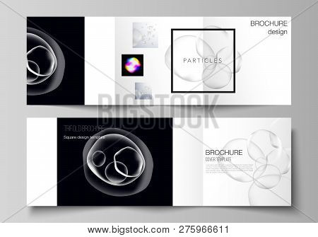 Vector Layout Of Two Square Format Covers Design Templates For Trifold Square Brochure, Flyer, Magaz