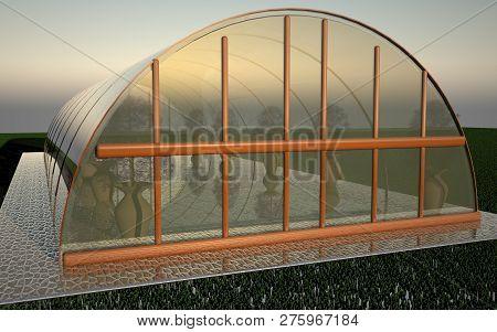 Greenhouse Under Sunset Light, Close Up, 3d Rendering
