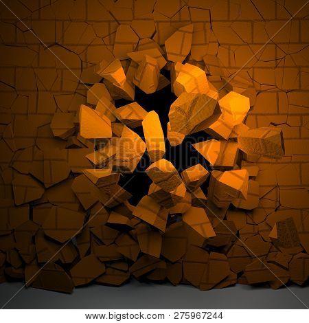 Brick Wall Breaking In Ruins