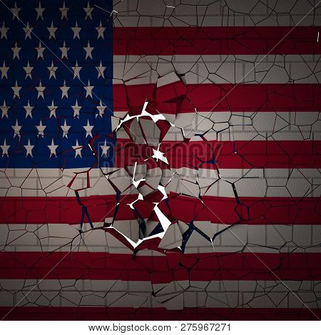 Brick Wall With Us Flag Breaking In Ruins
