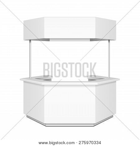 Hexagon, Hexagonal Pos Poi Blank Empty Retail Stand Stall Bar Display With Canopy, Banner. On White