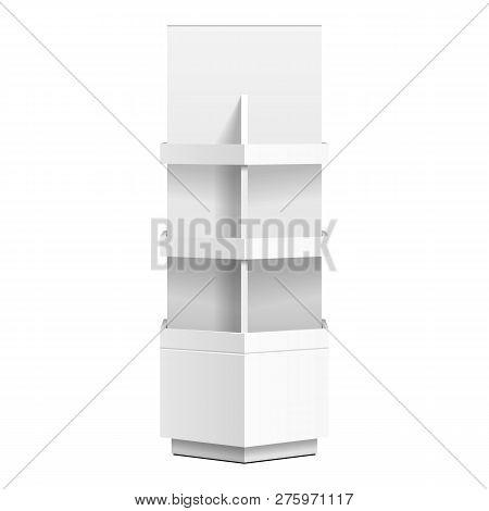 Hexagon, Hexagonal Pos Poi Cardboard Floor Display Rack For Supermarket Blank Empty. Mock Up. Illust