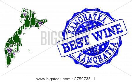 Vector Collage Of Grape Wine Map Of Kamchatka Peninsula And Grunge Stamp For Best Wine. Map Of Kamch