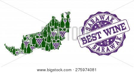 Vector Collage Of Grape Wine Map Of Malaysian Sarawak And Grunge Stamp For Best Wine. Map Of Malaysi