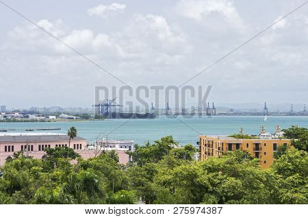 View Across San Juan Bay And Port Terminals From Old San Juan Puerto Rico