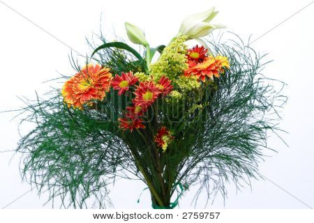 Beautiful Bouquet With Lily, Gerbers And Greenery