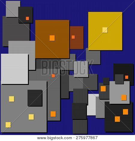 Cubism. Street Lights. Night City Street With Retro Lanterns.