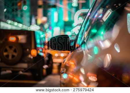 Urban City Scene Car In Traffic With Rear View Mirror And Lights