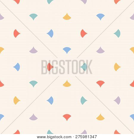 Cute Colorful Abstract Seamless Pattern With Small Triangles, Petals, Confetti. Vector Minimalist Te
