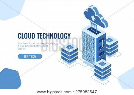 Server Room, Datacenter Isometric Icon, On White Background, Cloud Technology Computing, Data Databa
