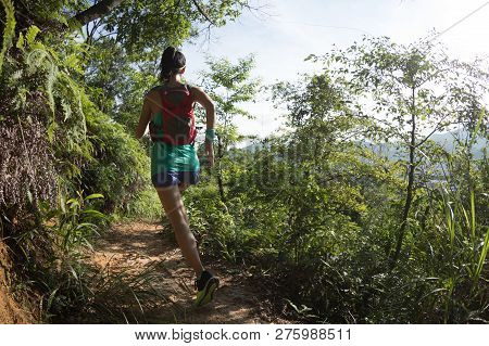 Young Fitness Woman Trail Runner Running On Forest Trail