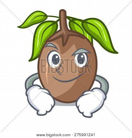 Smirking Sapodilla Fruit Isolated On The Mascot