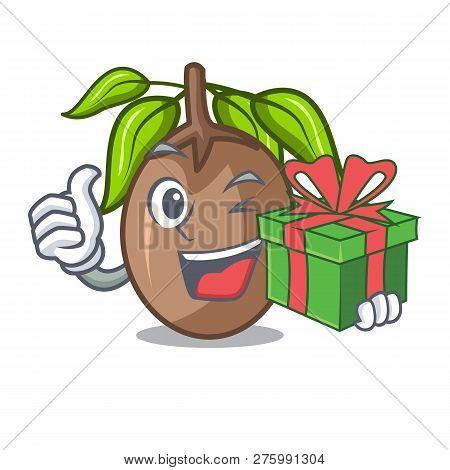 With Gift Sapodilla Fruit Cut In Shape Cartoon