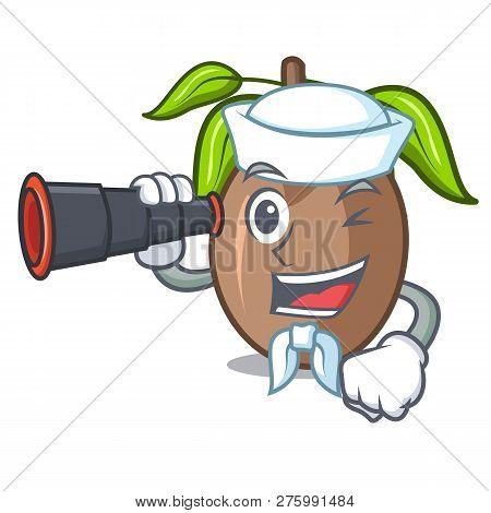 Sailor With Binocular Sapodilla Fruit Cut In Shape Cartoon