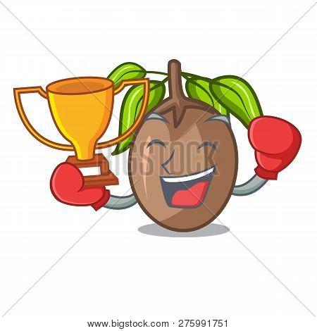Boxing Winner Slice Sapodilla Fruit On Shape Cartoon