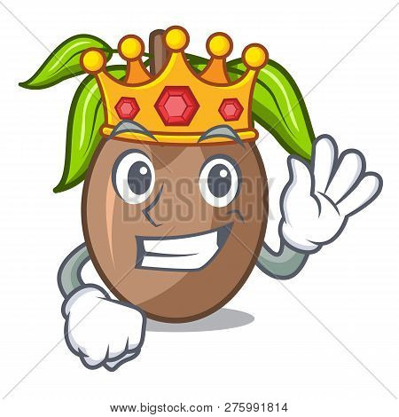King Slice Sapodilla Fruit On Shape Cartoon