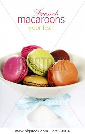 Colorful macaroons in a plate over white