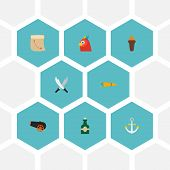 Set of piracy icons flat style symbols with cannon, anchor, rum and other icons for your web mobile app logo design. poster