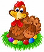Chocolate easter chicken on colorful eggs in grass nest poster