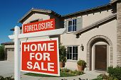 Foreclosure Home For Sale Sign in Front of New House on Deep Blue Sky poster