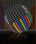 Abstract illustration of colorful audio equalizer  bars poster