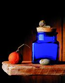 blue jar on shelf with snail tangerine and stone poster