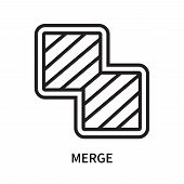 Merge icon isolated on white background. Merge icon simple sign. Merge icon trendy and modern symbol for graphic and web design. Merge icon flat vector illustration for logo, web, app, UI. poster