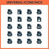 Types icons set with script, text, format and other configuration elements. Isolated vector illustration types icons. poster