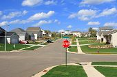 The intersection in a new subdivision with a stop sign. The sky is bright blue with puffy clouds. poster