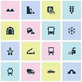 Transport icons set with risk, river, beware and other slippery elements. Isolated vector illustration transport icons. poster