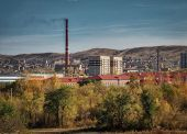 One of the districts of the city of Ust-Kamenogorsk (Kazakhstan). City outskirts. Autumn landscape poster