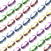 Colorful  Sunglasses in Repetition on White Background poster