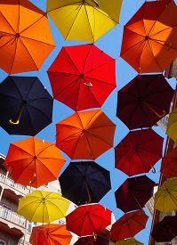 Umbrellas Street Decoration In Quebec City, Canada.