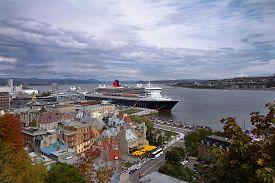 Quebec City And Saint Lawrence River In Autumn. View From Above.
