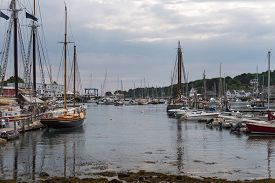 Camden Harbor Anchored Boats - Camden, Maine, Usa