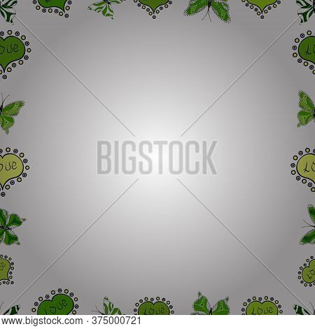 Vector. Seamless Pattern. Picture In Black, Green And White Colors. Doodles Elements Hand Drawn Fram