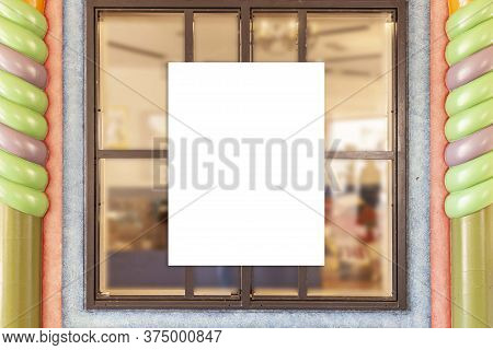 Blank Promotion Poster On Glass Window At Storefront