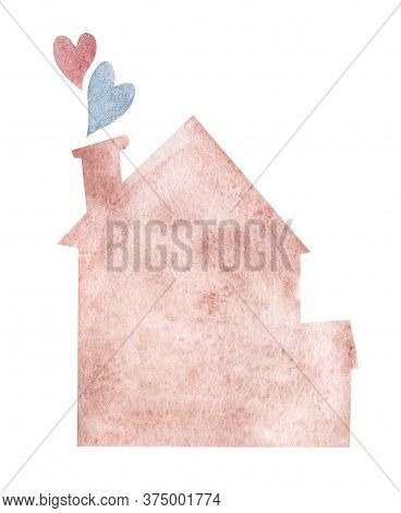 Watercolor Illustration In Shape Of Pink House With Cute Pink And Blue Hearts Flying From Chimney. A