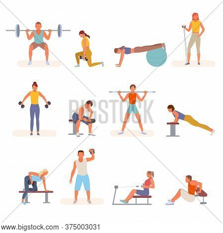 Bodybuilding Fitness In Gym Set. Character Lifting Weights Shakes Triceps Dumbbells Squeezes Trainin