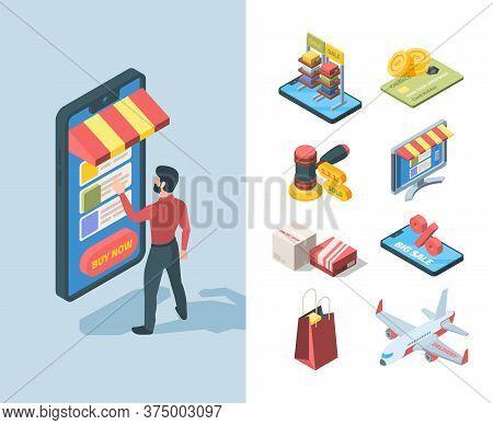Goods Sale Store Online Isometric Set. Character Orders Goods Great Discount Smartphone Big Sale Box